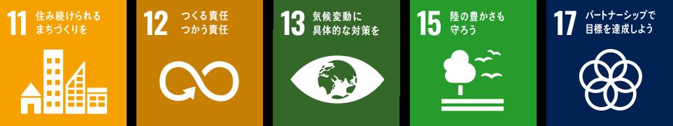 11 住み続けられるまちづくりを / 12 つくる責任つかう責任 / 13 気候変動に具体的な対策を / 15 陸の豊かさも守ろう / 17 パートナーシップで目標を達成しよう
